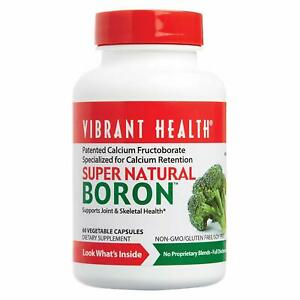 Vibrant Health Super Natural Boron, Patented Calcium Fructoborate, 60 count