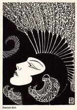 "1937 Original Don Blanding Art Deco Vintage Print ""Peacock Girl"""