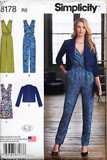 SIMPLICITY SEWING PATTERN 8178 MISSES SZ 14-22 MOCK WRAP JUMPSUITS DRESS, JACKET