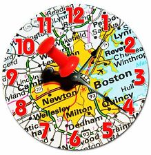 "BOSTON LOCATION MAP Clock - Large 10.5"" Wall Clock - 2052"