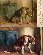 BLOODHOUND VINTAGE DOG ART PICTURE POSTCARDS x 2  Suspense by Sir Edwin Landseer