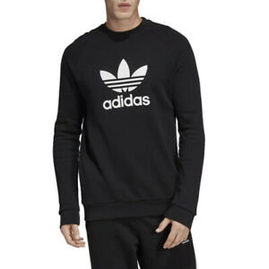 Felpa Girocollo Uomo Adidas Originals Trefoil Warm Up Crew Nera Codice CW1235...