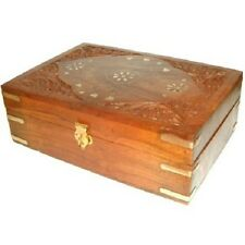 Carved Wooden Brass Aromatherapy Essential Oils Storage Box Holds 24 Oil Bottles