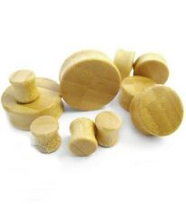 "PAIR-Wood Bamboo Double Flare Ear Plugs 16mm/5/8"" Gauge Body Jewelry"