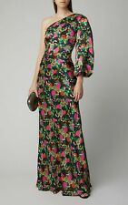 Saloni Lily Silk One Shoulder Gown Black Hydrangea Print NWT Size US 6 UK 12