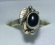 Stainless Steel Black Onyx Ring - Size 4