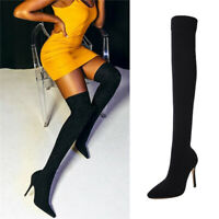 Womens High Over The Knee Stretch Elasticated Leg Ladies High Heels Boots Shoes