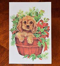 Vintage UNUSED Christmas Card FRAVESSI PUPPY COCKER SPANIEL BASKET Mid-Century
