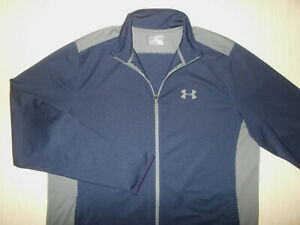 UNDER ARMOUR HEAT GEAR FULL ZIP BLUE & GRAY ATHLETIC JACKET MENS 2XL EXCELLENT