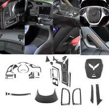 37Pcs Carbon Fiber Interior Full Set Cover Trim For Chevrolet Corvette C7 14-19