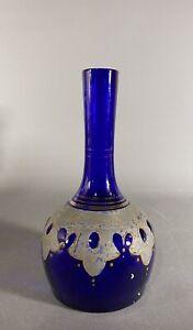 Antique Cobalt Blue Decorated Barber Bottle or Tonic Bottle