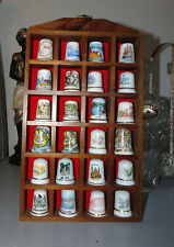 Set Of 24 Fine China Thimbles Comes With Wall Hanging Display Case England
