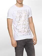 $115 CALVIN KLEIN Men's WHITE GRAY LOGO GRAPHIC CREW-NECK T-SHIRT SHORT-SLEEVE S