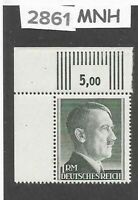 #2861    Very Nice MNH 1RM Third Reich Adolph Hitler stamp / 1942-1944 /  Sc524