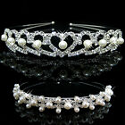 Pearl Crystal Crown Headband Tiara Flower Bridal Wedding Party lady Hair Jewelry