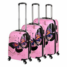 Hard Shell 4 Wheel Spinner Case PC Luggage Trolley Cabin Hand Suitcase Butterfly