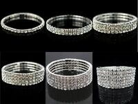 Ladies Women Diamante / Rhinestone / Crystal Silver Stretch Bracelet UK Seller