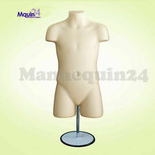 Child Mannequin Torso Dress Form Flesh w/Stand + Hook for Hanging