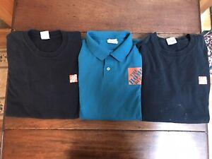 3 MENS LARGE HOME DEPOT EMPLOYEE SHIRT LOT Uniform Tee T-Shirt Polo Winning Hand