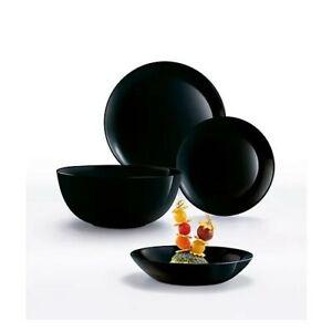 Luminarc Diwali 19 Piece Dinner Dining Set Plates Bowls Tableware Black Glass