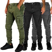 Pantaloni uomo cargo autunno inverno tasche laterali slim fit 42 44 46 48 50 52