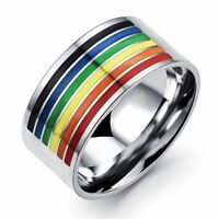 Fashion Gifts Pride Men Women Stainless Steel Jewelry Rainbow Ring Gay Lesbian