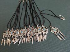 20 x Dream Catcher Style Pendant & Black Faux Leather 18inch Necklace