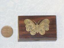 Vintage Tiny WOODEN TRINKET BOX Brass BUTTERFLY Inlay Wood Small