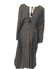 $168 Free People Modern Kimono Denim Combo Lt Blue Lace Up Maxi Dress 12 L NWT