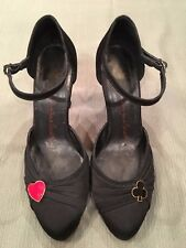 """Lulu Guinness """"If you play your cards right"""" black satin pumps Women's 6 1/2 M"""