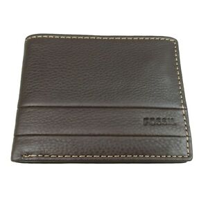 Fossil Lufkin Traveler Leather Mens Brown Wallet NEW SML1390201