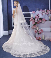 Cathedral Length Bridal Wedding Veils White Ivory 2 T With Comb Lace Applique 3M
