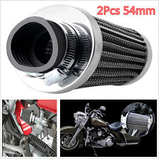 2pcs 54mm Universal Tapered Chrome Pod Air Filters For Motorcycle Cafe Racer
