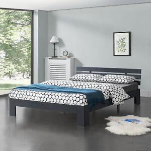 [en.casa] Holzbett 140x200cm Bettgestell Bett Doppelbett Kiefer Jugendbett Grau