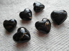 Pack of 6 Black Glass Puffed Hearts