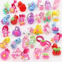 10 Pcs Kids Elastic Hairband Girl Scrunchies Ponytail Hair Ties Rope Rubber Band