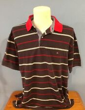 Polo by TOMMY HILFIGER, Navy with Red Collar, White and Red Stripes, Men's L