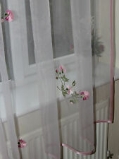 """Pale pink readymade organza curtain 155x295cm (61x116"""")w  embroidered flowers"""
