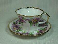 Salisbury Bone China Garland Cup and Saucer Purple Flowers Scalloped 1949 - 70