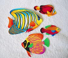 TROPICAL FISH  LARGE  COTTON IRON ON FABRIC APPLIQUES    #50