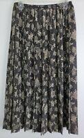Leslie Fay Womens Black Skirt Pleated Paisley Elastic Waist Midi Vintage Size 14