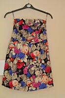 Ladies PAPAYA Bardot Dress Size 12 Vivid Multi Floral Lined Bandeau Cotton Blend
