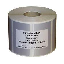 Typenschilder / Polyester Etiketten silber 57 x 32 mm - 1000 Stück - Hülse 25 mm