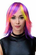 Neon Disco Glam Ladies' Wig Multicoloured Purple Pink Yellow Fringe Smooth