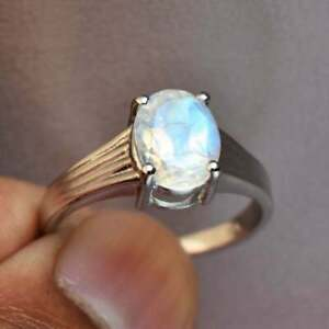 925 Sterling Silver Natural Rainbow Moonstone Engagement Ring Gift Free Ship