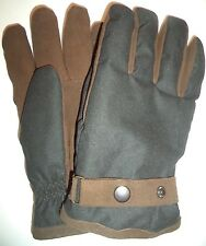 Mens Thinsulate Leather Palm Wriststrap Gloves,Black/Brown , L