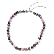 "925 Sterling Silver Round, Beads Ruby, Blue Sapphire Gift Necklace 18"" Cttw 396"