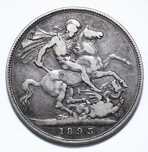1893, UK, 1 Crown, Victoria, VF, Silver, KM# 783, Lot [931]