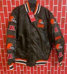 Cleveland Browns NFL Satin Bomber Jacket NFL Team Apparel Sweater Size L RARE