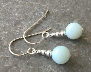Pale Green Amazonite Gemstone & Sterling Silver Drop Earrings + Gift Box